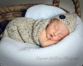 Crocheted Baby Hat and Cocoon Set - Baby Photo Prop - Newborn Photography Prop - Oatmeal