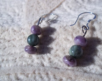 Help Me Serve, Healing Stone Earrings, Charoite, Seraphanite, Sterling Silver Ear Wire, Natural Gemstone Synergy, Green and Purple