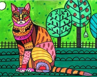 Bengal Cat Art Poster Print of painting by Heather Galler (HG173)