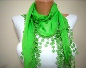 Gift Scarf - New - Trendy Scarf -  Cowl with Lace Edge Pistachio Green-Mother's Day Gift - Cotton Scarf