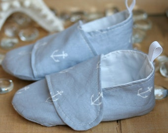 Baby Boy Shoes Gray Anchor Print Loafers - Nautical Soft Sole Baby Booties