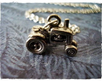 Silver Tractor Necklace - Antique Pewter Tractor Charm on a Delicate Silver Plated Cable Chain or Charm Only