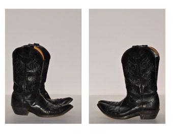 vintage cowboy boots JUSTIN leather boots cowboy roper boots work size 11.5 B