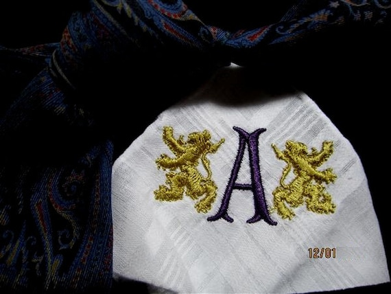 Because a Bride loves her Father, she presents him with an heirloom gift. Custom made.  Mens Hankerchief complete with gift box.