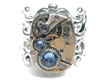 Steampunk Ring, Watch Movement, Ring, Cosplay Ring, Steam punk Ring, Steam punk Goth, Swarovski Crystal, Neo Victorian