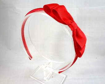Red Bow Headband/ Snow White Headband/ Red Adult Bow Headband/ Girls Hair Accessories/ Adult Hair Accessories/ Hard Headband/ Red Hair Bow