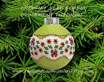 Beaded Christmas Ornament or Ball with Swarovski Crystals - Crochet PDF File TUTORIAL - Vol.9 - Christmas Crystals