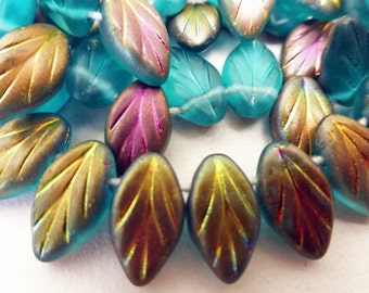 25 Czech Glass Leaves in Teal Matte Vitrail Matte   Size 12x7mm