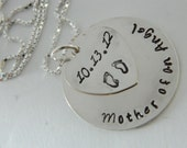 REMEMBER -- Hand stamped necklace in remembrance of baby, miscarriage, stillborn, loss  with date and baby footprints