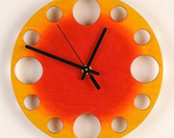 "POP Clock in Yellow to Orange Sunburst, 10"" Modern Wall Clock"