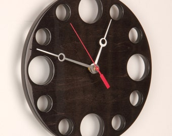 "POP Clock in Black, 10"" Modern Wall Clock"