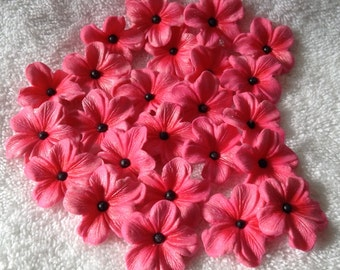 Hot Pink Gum Paste Blossoms with Black Dragees