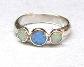 Opal ring,White opal and Blue opal Gemstone ring, Back to school silver ring  - Engagement Ring, anniversary ring, stacking ring, gift idea