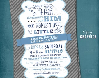 Something for the Little One. Couples Baby Shower Invite. By Tipsy Graphics. Any colors