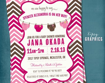 Stock the Diaper Bag. Brown & Pink Chevron Diaper Baby Shower Invite by Tipsy Graphics.