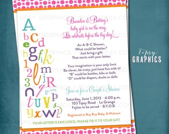 Alphabet Bridal Shower Invitation. ABC Invite.  Coed Wedding Shower Invite. Any colors and text by Tipsy Graphics