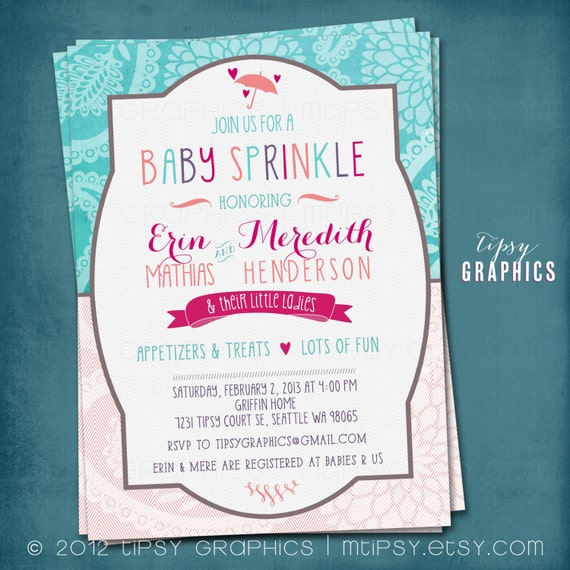 Paisley Mum. Teal Coral Purple Hot Pink. Baby / Bridal Shower Invitation by Tipsy Graphics