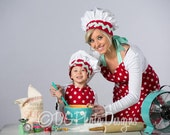 Mommy and Me Apron Set Mint Green-Polka Dot full Aprons Matching made to order