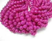f 38 pcs 10mm round faceted fuchsia color jade beads