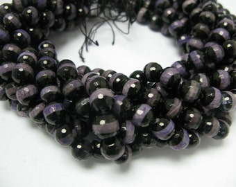 37pcs 10mm round faceted Tibetan agate beads