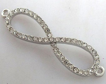 3 pcs 11mmx41mm high quality silver color metal with clear czekh crystal infinity charm