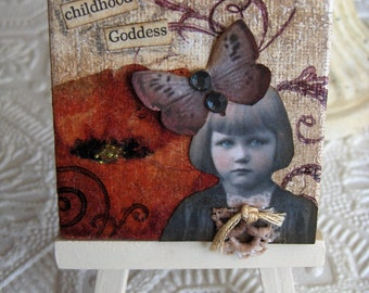 Miniature Mixed Media Collage My Little Poppy on Canvas with Easle Altered Art Style