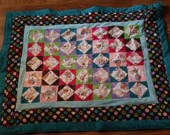 Baby Quilt - Retro Quilt with Peace Monkeys - Hand Made Flannel Quilt - Baby Shower Gift