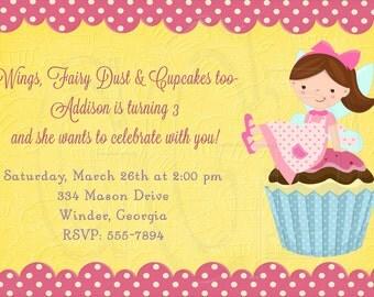 Fairy Invitation Cupcake - Digital File