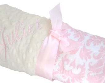 Pink White and Yellow Damask Minky Baby Blanket Personalization Included lovey size