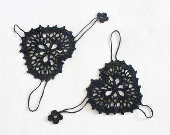 Black  Heart Crochet Fingerless Gloves Mittens, Hand jewelry, Bracelet , Crazy, Beach, Pool, Dance