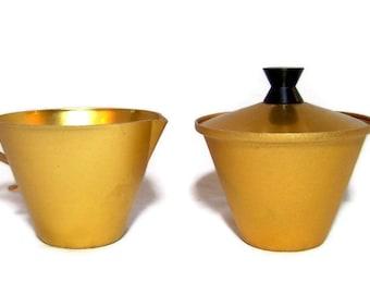 Sugar and Creamer Set Gold Golden Mid Century Modern Kitchen