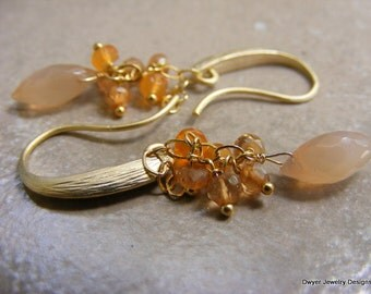 Peach Moonstone Earrings with Orange Sapphires and Orange Topaz.