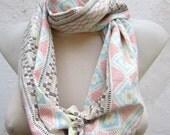 Pastel Geometric infinity scarf,Circle Scarf,Loop Scarf,Scarves