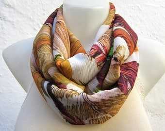 Boho Infinity Scarf, Floral Scarves, Fabric Necklace Accessories, Loop Neckwarmer, Chiffon scarf, Autumn Color, Christmas Gift,Yellow Brown