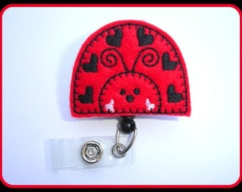 Badge Reel ID Holder Retractable - Love love ladybugs red felt - medical staff nurse rn teacher