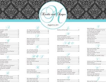 Custom Damask  Wedding Seating Chart