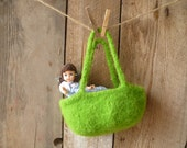 lime green flower girl basket, small purse // hand knit and felted