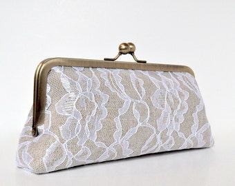 custom : linen & lace personalized clutch, bridal bag, bridesmaid gift, choose your fabrics