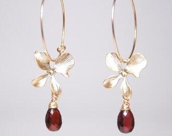 Red garnet earrings, January birthstone earrings, Grade AAA garnet drop orchid 14K gold filled hoop earrings