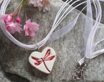 Ceramic Dragonfly Pendant Heart Necklace red white ribbon