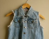 Denim Vest Cropped 90s Vintage Button Up Cut Off