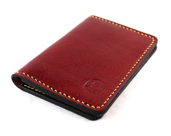Slim Hand Stitched leather Wallet in WINE RED