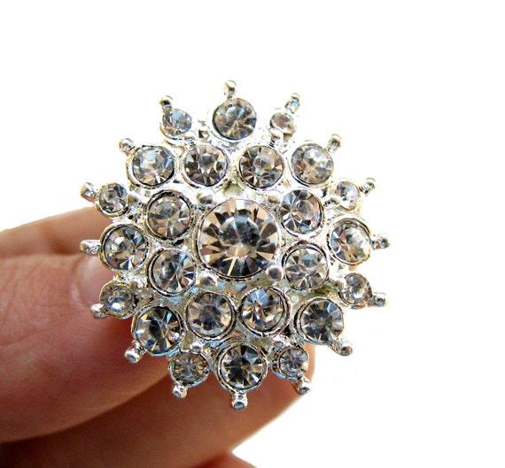 20 Starburst Rhinestone Buttons for Wedding Invitation Card Decoration Scrapbooking Garter RB-025 (26mm or 1 inch)