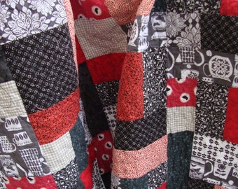 Lap Quilt Black, White, Grey and Red Novelty prints fun and funky