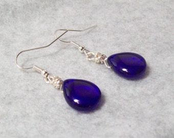 Cobalt Blue Teardrop Bead Earrings,  Wire Wrapped Briolette Earrings, Tear Drop EarringsGift for Her