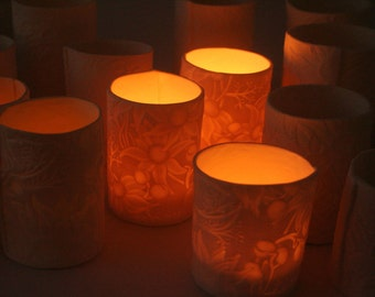 Discounted Set of 3 - Porcelain Tealight Lanterns with Australian flannel flowers