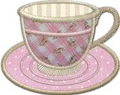 Cup and saucer  .  Applique  from the Vintage Tea set.