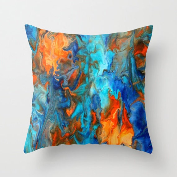 Decorative Pillows Blue And Orange : Orange and Teal Pillow Cover Orange and blue home by LizMosLoft