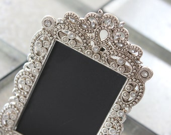 15 Vintage Style JEWELED RHINESTONE Frame Gatsby  Bling Silver Diamond Chalkboard Table Number Frames Ornate Picture Photo Wedding