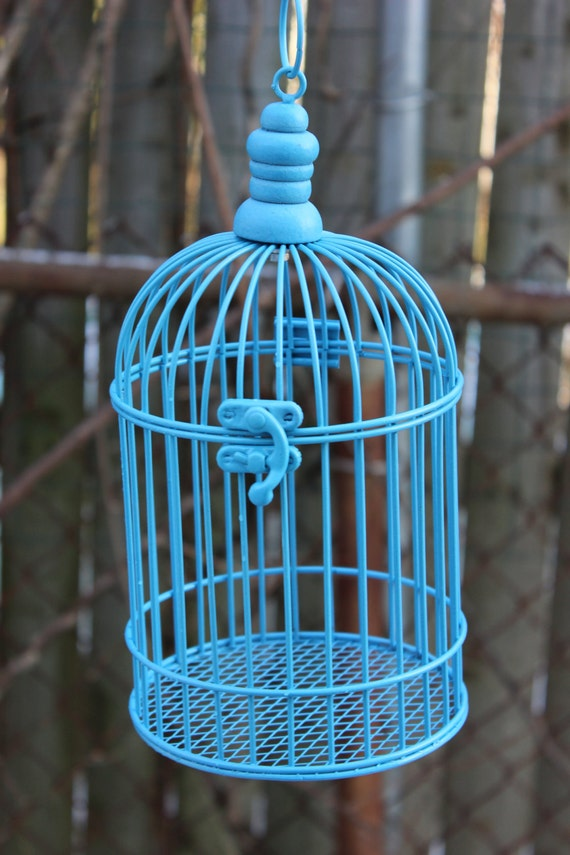 Aqua Blue Turquoise Bird Cage Birdcage Metal Candleholder